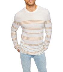 men's 7 for all mankind stripe merino wool sweater, size small - white