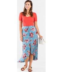 evann floral high low skirt - blue