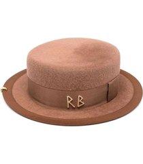 ruslan baginskiy canotier pink hat in wool felt