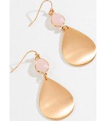 kimberly satin teardrop earrings - pale pink