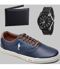 sapatenis casual masculino azul com carteira e relógio