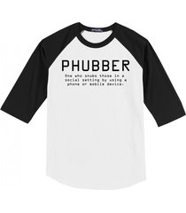 phubber snubs in social setting on phone funny tee technology mens raglan t