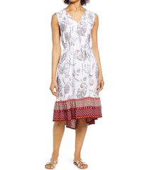 beachlunchlounge lou lou belted sleeveless shift dress, size large in blanc royale at nordstrom