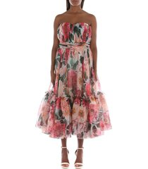camellia-print chiffon strapless dress