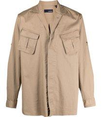 lardini long-sleeved multi-pocket shirt - neutrals