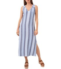 vince camuto stripe sleeveless linen blend dress, size small in blue/new ivory at nordstrom