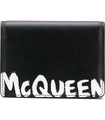 alexander mcqueen logo-print foldover wallet - black
