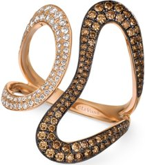 le vian chocolatier diamond contemporary swirl ring (1 ct. t.w.) in 14k rose gold