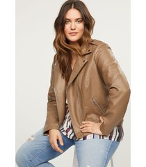 lane bryant women's faux-leather moto jacket 26/28 bark brown