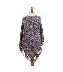 100% alpaca poncho, 'captivating stripes in purple' (peru)