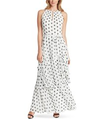 tahari asl dot-printed tiered chiffon gown