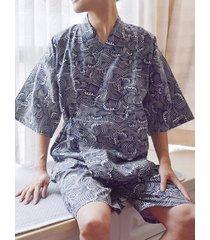 traje de pijama anudado de manga corta de algodón kimono japonés para hombre