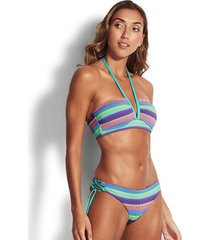 baja stripe v wire halter bikini top