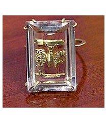 diamond accented gold and quartz cocktail ring, 'borboleta' (brazil)
