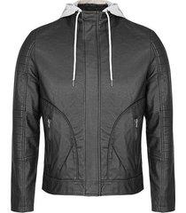 chaqueta efecto piel con capota removible para hombre 97755
