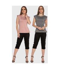 kit 2 blusas regata muscle tee carbella regata modal confort com ombreira rosa/cinza
