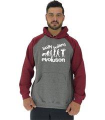 blusa moletom masculino alto conceito evolução bodybuilding mescla escuro/bordô