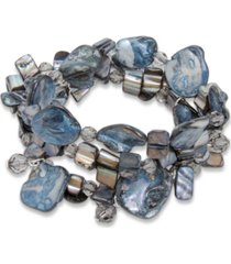 style & co silver-tone 3-pc. set disc, bead & stone stretch bracelets, created for macy's