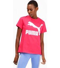 classics logo t-shirt voor dames, roze, maat l | puma
