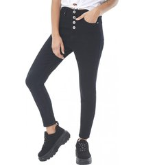 jeans skinny tiro alto botones negro corona