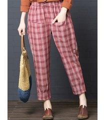 pantaloni harem plaid in vita elastica vintage da donna
