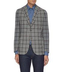 check wool silk blend blazer