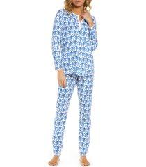 women's roller rabbit monkey pajamas, size large - blue