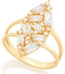 anel geométrico com zircônias rommanel