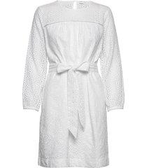 eyelet tie-belt dress kort klänning vit gap