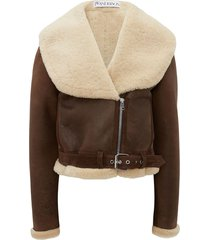 jw anderson shearling-collar leather jacket