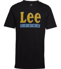 lee jeans logo tee t-shirts short-sleeved svart lee jeans