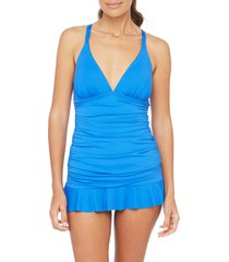 women's la blanca island goddess skirted one-piece swimsuit, size 14 - blue