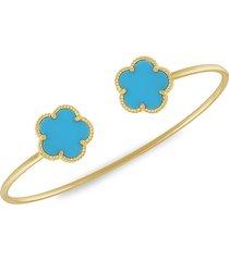jan-kou women's flower 14k goldplated cuff bracelet