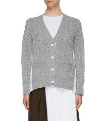shirt back wool cable knit cardigan