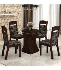 mesa de jantar 4 lugares nivea zara ameixa/cobre - viero móveis