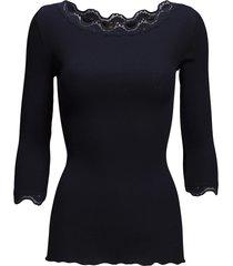 silk t-shirt boat neck regular w/vi t-shirts & tops long-sleeved blauw rosemunde