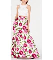 b darlin juniors' 2-pc. lace floral-print gown