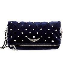 rock velvet glass bead-embellished crossbody bag