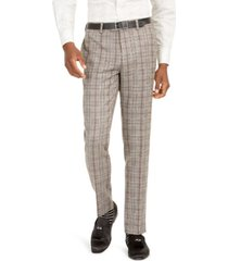 tallia orange men's slim-fit brown plaid flannel suit pants