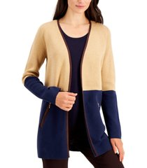 charter club petite cotton open-front cardigan, created for macy's