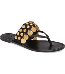 women's tory burch patos coin thong sandal, size 6 m - black