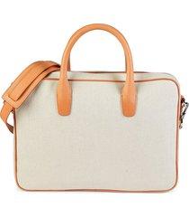 mansur gavriel men's small canvas briefcase - cream camel