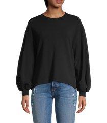alice + olivia women's amirah bishop-sleeves sweatshirt - black - size m