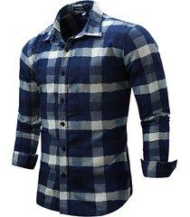 moda casual plaid stampa sottile camicie a maniche lunghe per uomo