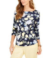 charter club floral-print boat-neck pima cotton top, created for macy's