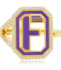 colette 18kt yellow gold gatsby f initial diamond and navy enamel ring