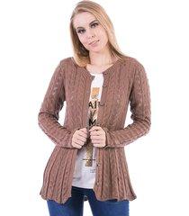 casaco tricot carlan tranã§ada com barra ondulada - marrom - feminino - dafiti
