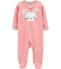 carter's baby girl mouse zip-up fleece sleep & play