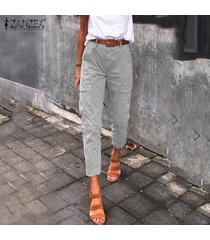 zanzea las mujeres ocasionales holgado pantalones de cintura alta side pocket pantalones vaqueros de la cremallera -gris