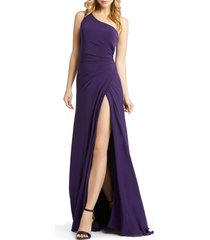 women's mac duggal one-shoulder jersey a-line gown